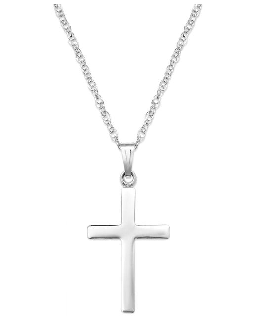 Macy's - Metallic Sterling Silver Necklace, Polished Cross Pendant - Lyst