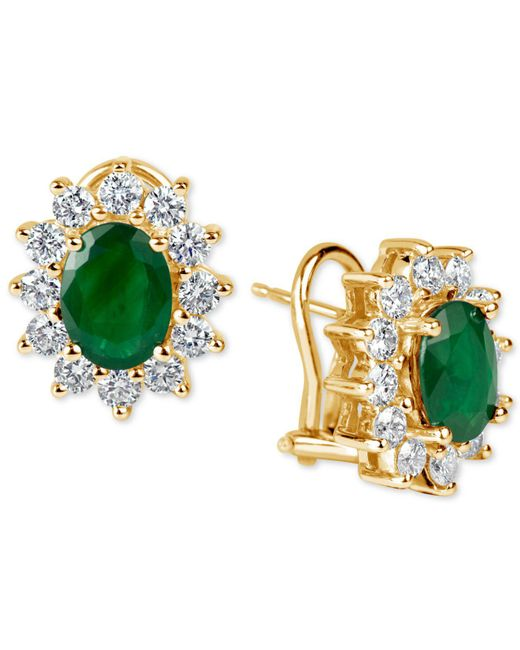 Macy's   Metallic Ruby (2-1/5 Ct. T.w.) And Diamond (1-1/5 Ct. T.w.) Earrings In 14k Gold   Lyst