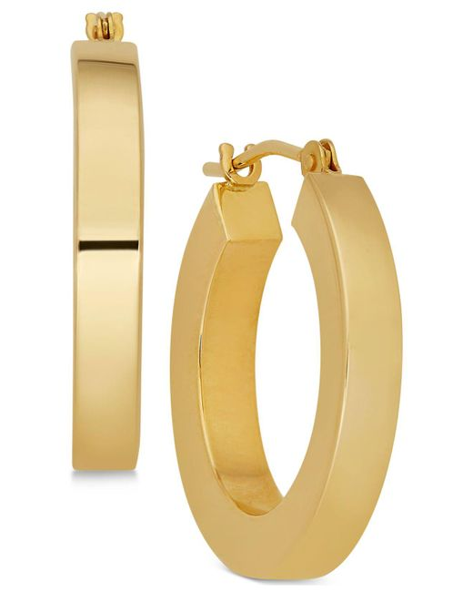 Macy's | Metallic Polished Chunky Flat-edge Tube Hoop Earrings In 14k Gold | Lyst