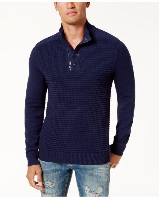 INC International Concepts   Blue Men's Quarter-zip Sweater for Men   Lyst