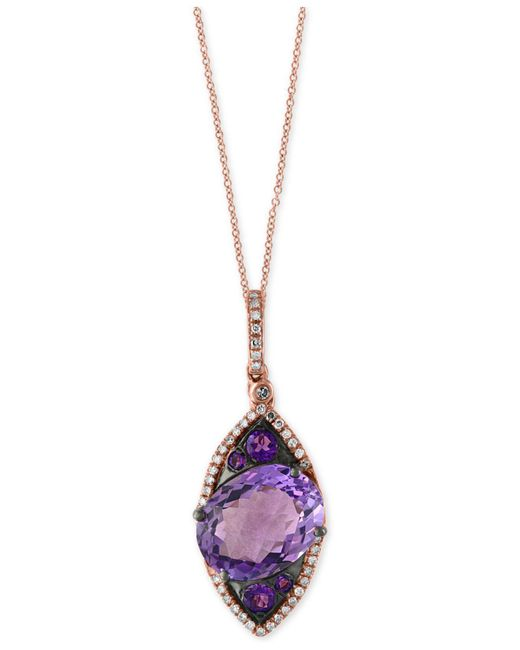 Effy Collection - Metallic Amethyst (5-3/4 Ct. T.w.) And Diamond (1/6 Ct. T.w.) Pendant Necklace In 14k Rose Gold - Lyst