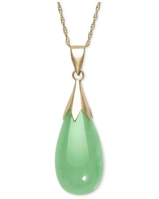 Macy's | Metallic Dyed Jadeite (10 X 20mm) Elongated Teardrop Pendant Necklace In 10k Gold | Lyst