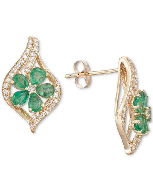 Macy's - Green Emerald (1-1/2 Ct. T.w.) & Diamond (1/3 Ct. T.w.) Stud Earrings (also In Sapphire, Tanzanite & Certified Ruby) - Lyst