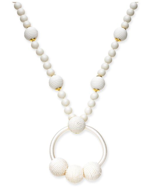 """Kate Spade - White Gold-tone Beaded & Wrapped Pendant Necklace, 28"""" + 3"""" Extender - Lyst"""
