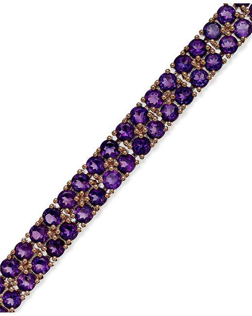 Macy's - Purple Amethyst Two-row Bracelet In 14k Rose Gold Over Sterling Silver (14-1/10 Ct. T.w.) - Lyst