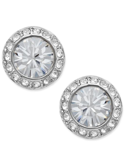 Swarovski | Metallic Earrings, Silver-tone Crystal Circle Stud | Lyst