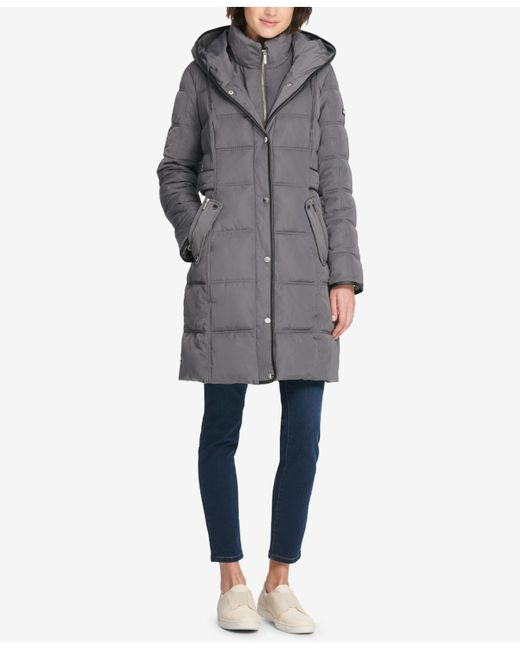 DKNY - Gray Faux-leather-trim Hooded Puffer Coat, Created For Macy's - Lyst