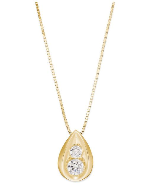 Macy's | Metallic Diamond Teardrop Pendant Necklace In 14k Gold (1/4 Ct. T.w.) | Lyst