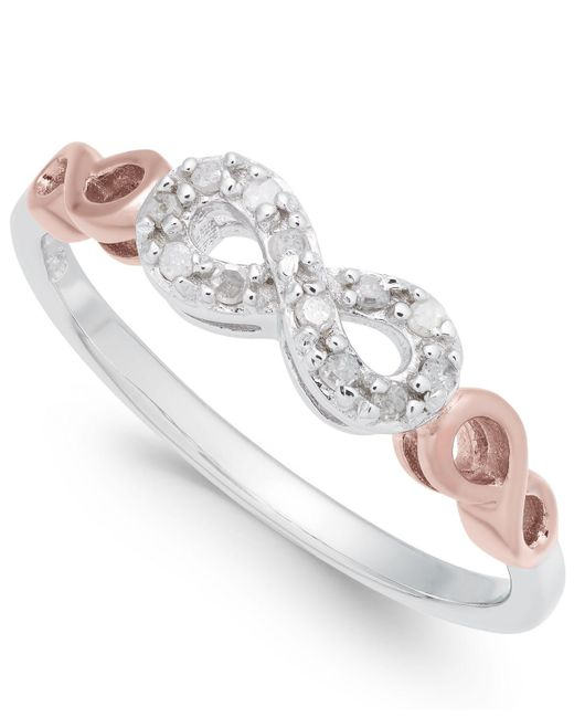 Macy's - Metallic Diamond Infinity Ring (1/10 Ct. T.w.) In Sterling Silver And Rose Gold-plate - Lyst