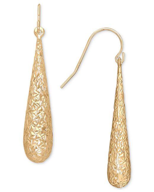 Macy's | Metallic Textured Elongated Teardrop Drop Earrings In 10k Gold | Lyst