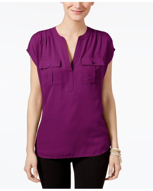 INC International Concepts | Purple Mixed-media Utility Shirt, Only At Macy's | Lyst