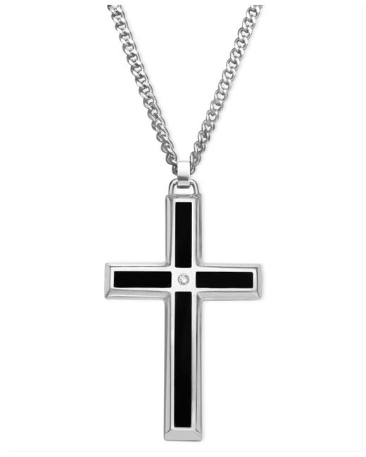 Macy's - Multicolor Men's Stainless Steel Pendant, Black Enamel And Diamond Accent Cross for Men - Lyst