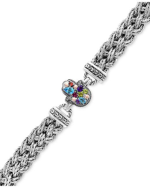 Effy Collection - Metallic Multi-gemstone (1-1/3 Ct. T.w.) Hamsa Hand Bracelet In Sterling Silver - Lyst