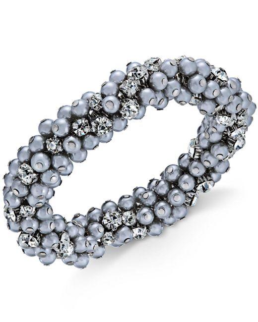 Charter Club - Metallic Silver-tone Crystal & Gray Imitation Pearl Cluster Bracelet - Lyst