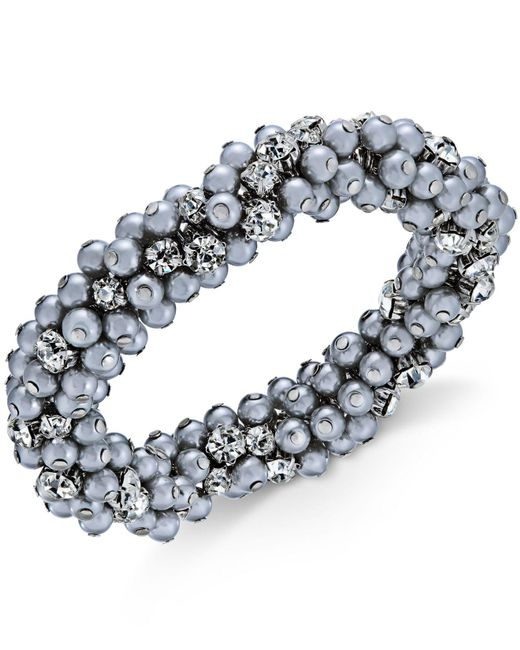 Charter Club | Metallic Silver-tone Crystal & Gray Imitation Pearl Cluster Bracelet | Lyst