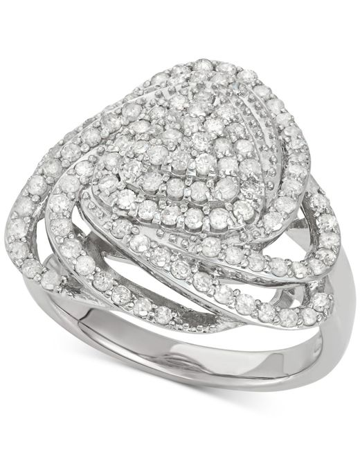 Wrapped in Love | Metallic Diamond Triangle Floral Ring (1 Ct. T.w.) In Sterling Silver | Lyst