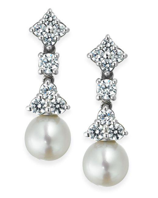 Arabella - Metallic Cultured Freshwater Pearl (7mm) And Swarovski Zirconia (1-5/8 Ct. T.w.) Drop Earrings In Sterling Silver - Lyst