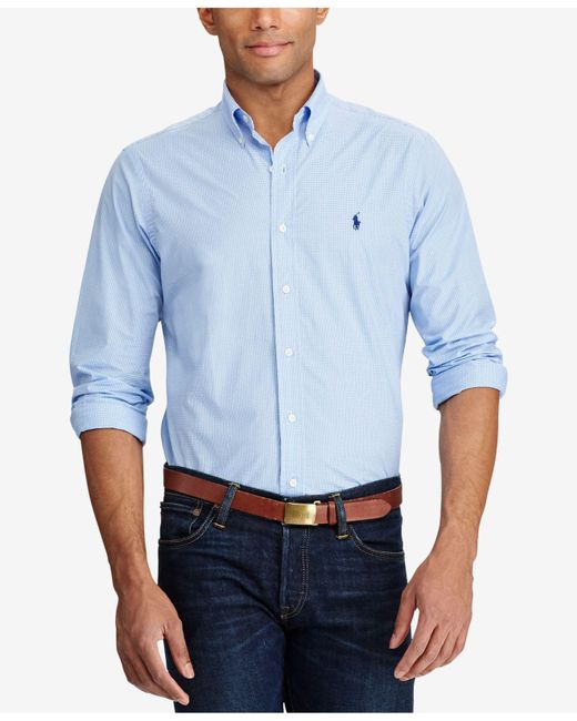 Polo Ralph Lauren | Blue Checked Poplin Shirt for Men | Lyst