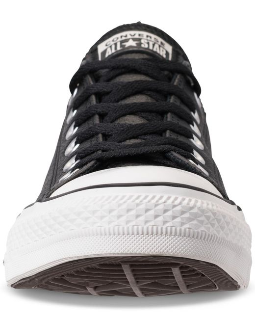 6e41e62b980e41 ... Converse - Black Unisex Chuck Taylor Ox Leather Casual Sneakers From Finish  Line - Lyst ...