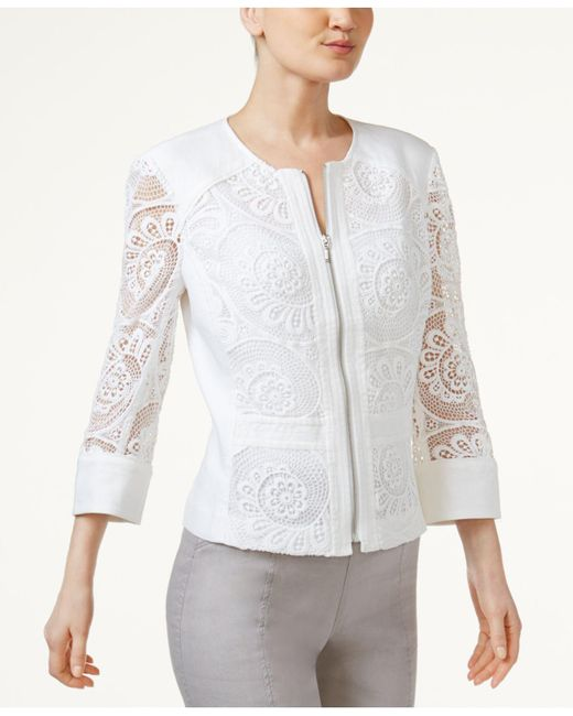 INC International Concepts | White Petite Crochet-lace Zip-up Blazer | Lyst