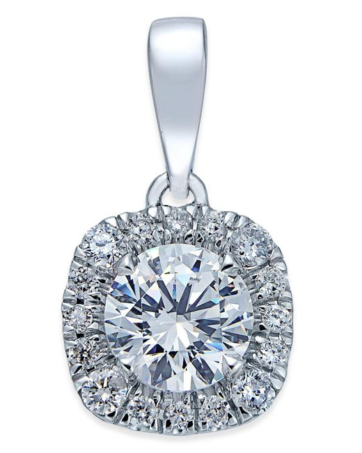 X3 | Metallic Diamond Halo Pendant Necklace (1 Ct. T.w.) In 18k White Gold | Lyst