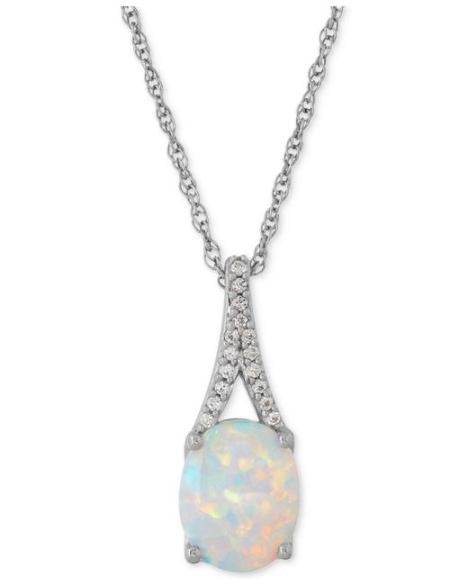 Macy's | Metallic Lab-created Opal (1 Ct. T.w.) And White Sapphire Accent Pendant Necklace In Sterling Silver | Lyst