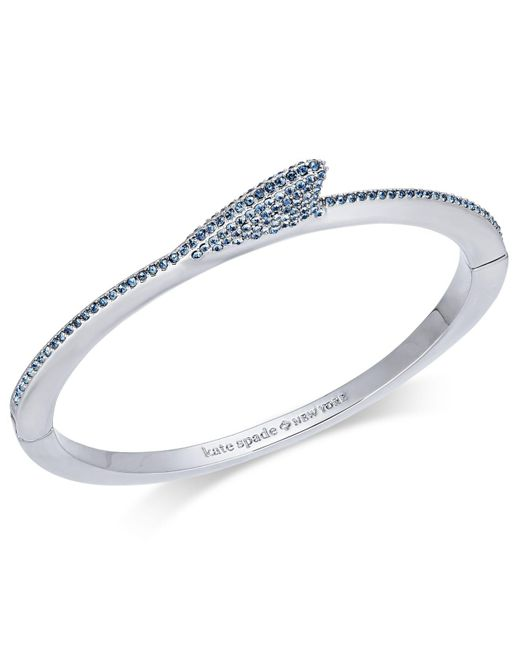 Kate Spade - Blue Silver-tone Pavé Shark Fin Bangle Bracelet - Lyst