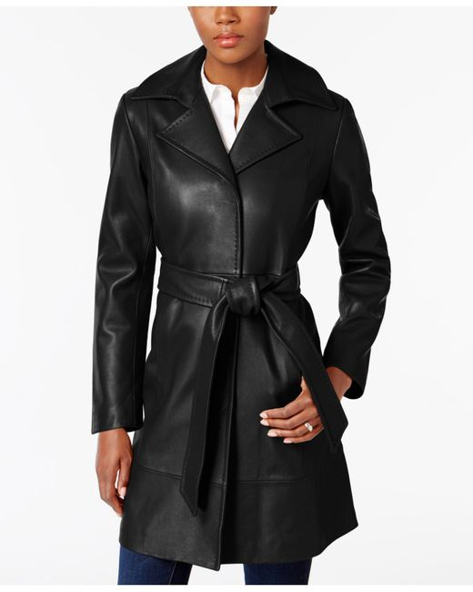 Jones New York | Black Leather Belted Trench Coat | Lyst