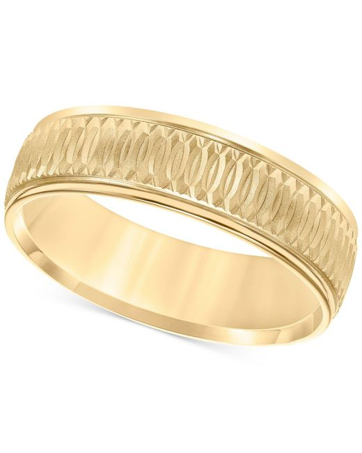 Macy's - Metallic Engraved Band In 14k Gold - Lyst