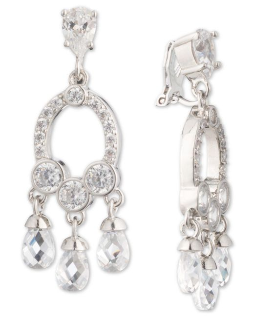 Carolee White Silver Tone Cubic Zirconia Clip On Chandelier Earrings Lyst