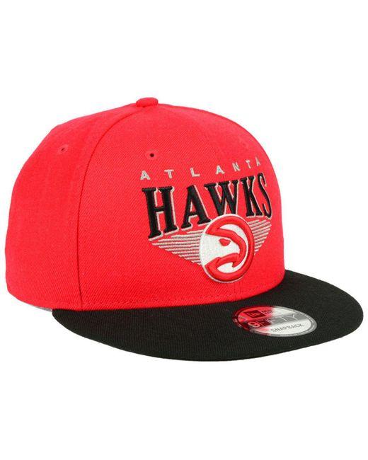 huge selection of 3abb1 2070d ... KTZ - Red Atlanta Hawks Retro Triangle 9fifty Snapback Cap for Men -  Lyst ...