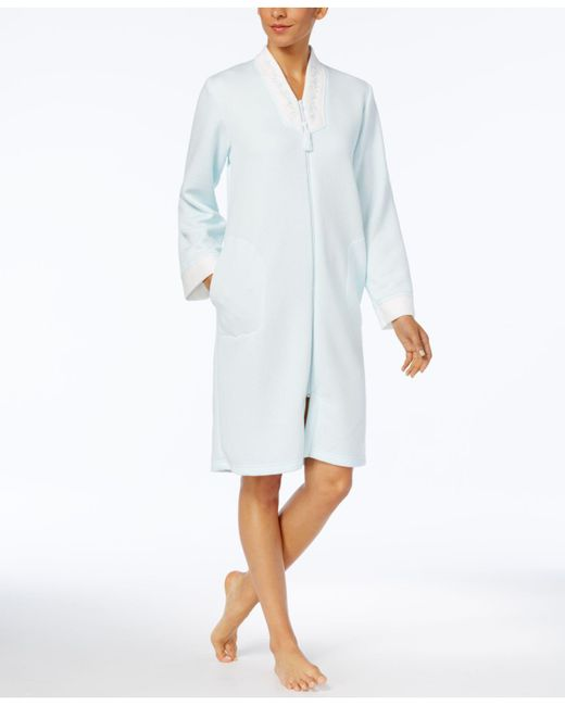 Miss Elaine | White Embroidery-trimmed Zip-front Robe | Lyst