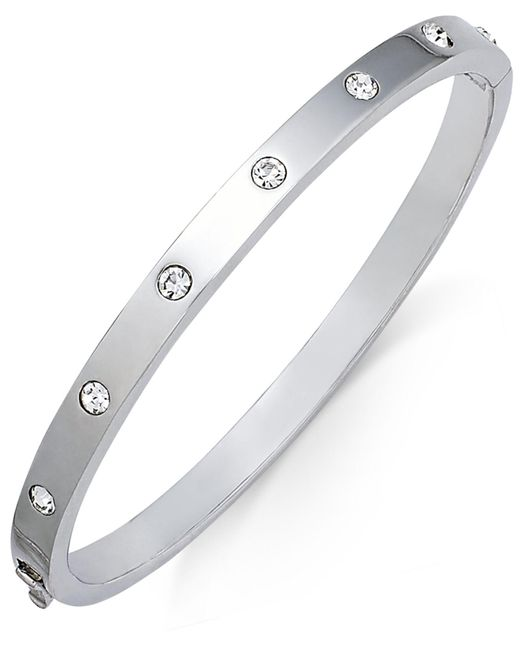 Kate Spade - Metallic Silver-tone Crystal Bangle Bracelet - Lyst