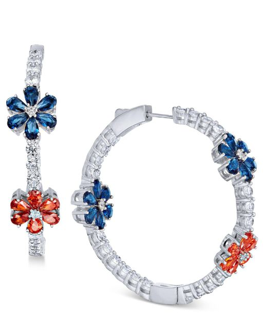 Joan Boyce - White Flower Crystal Pavé Hoop Earrings - Lyst