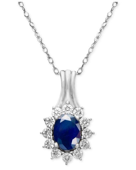 Macy's - Blue Sapphire (9/10 Ct. T.w.) And Diamond Accent Pendant Necklace In 10k White Gold - Lyst