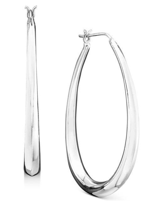 Giani Bernini - Metallic Sterling Silver Earrings, Graduated Drop Hoops - Lyst