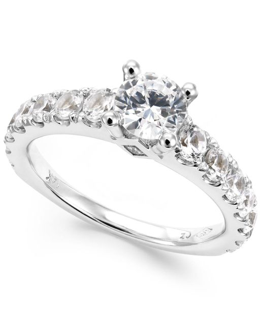 Macy's - Metallic Diamond Engagement Ring In 14k White Gold (2 Ct. T.w.) - Lyst