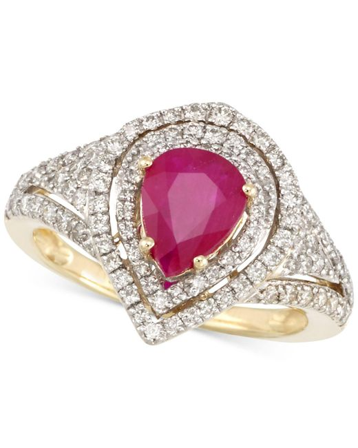 Rare Featuring Gemfields - Yellow Certified Ruby (5/6 Ct. T.w.) And Diamond (2/3 Ct. T.w.) Ring In 14k Gold - Lyst