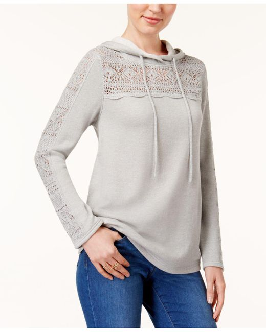 Style & Co. | Gray Crocheted Hoodie | Lyst