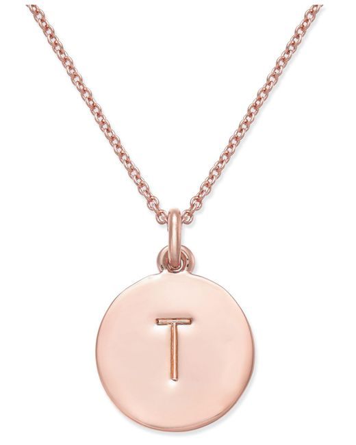 "Kate Spade - Metallic Rose Gold-tone Initial Disc Pendant Necklace, 18"" + 2 1/2"" Extender - Lyst"