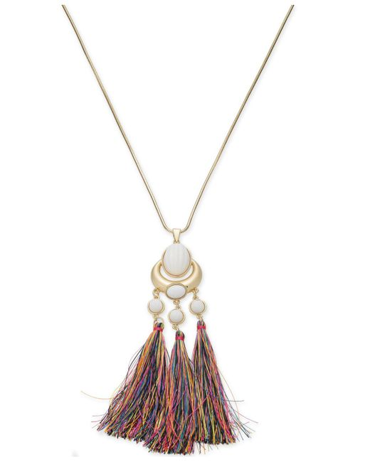 "INC International Concepts - Metallic Trina Turk X I.n.c. Gold-tone Stone & Tassel 30"" Pendant Necklace, Created For Macy's - Lyst"