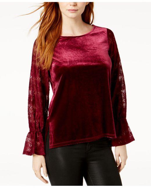 Kensie   Red Lace-sleeve Velvet Top   Lyst