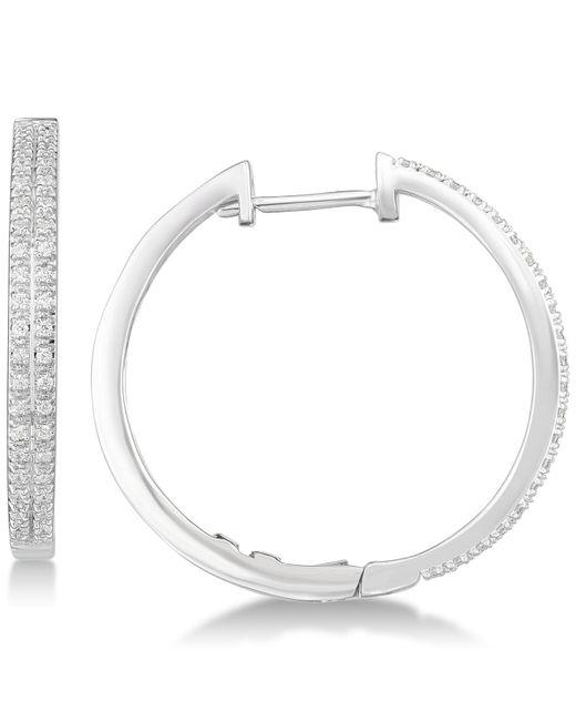 Macy's - Metallic Diamond Hoop Earrings (1/4 Ct. T.w.) In Sterling Silver - Lyst