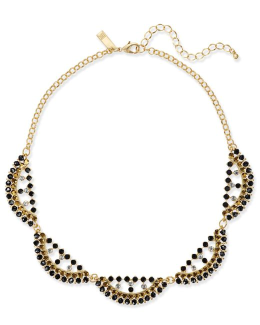 INC International Concepts | Black Gold-tone Beaded Scalloped Statement Necklace | Lyst