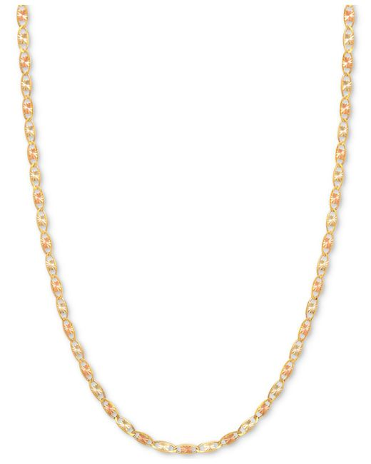 Macy's - Metallic Tri-color Valentina Chain Necklace In 14k Gold, White Gold & Rose Gold - Lyst