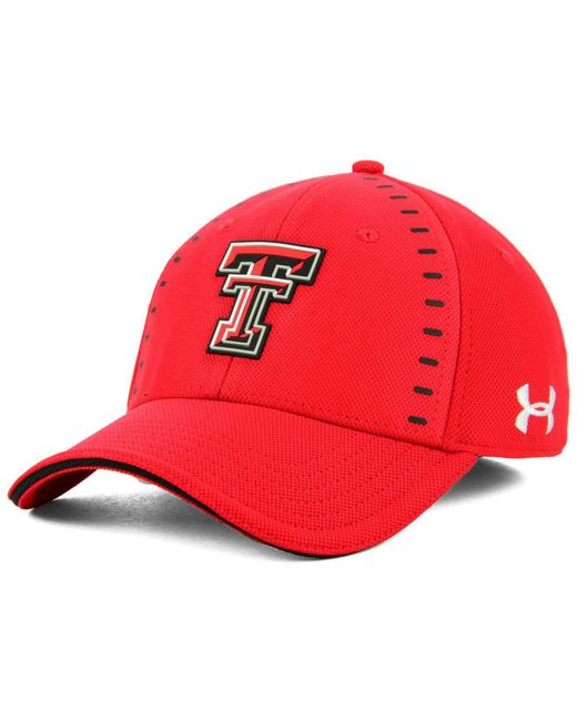 cheaper f4927 5e4b2 ... store under armour texas tech red raiders blitzing flex stretch fitted  cap for men lyst a8b9a