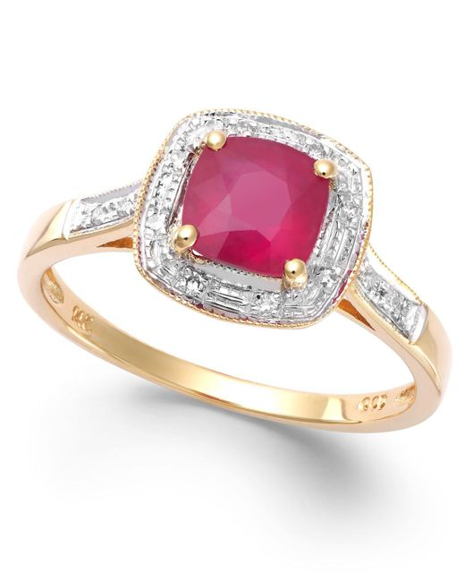 Macy's - Red Ruby (1-1/4 Ct. T.w.) And Diamond Accent Ring In 14k Gold - Lyst