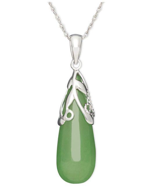 Macy's - Green Sterling Silver Necklace, Jade Leaf Top Teardrop Pendant - Lyst