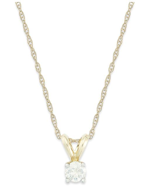 Macy's | Metallic Round-cut Diamond Pendant Necklace In 10k White Gold (1/4 Ct. T.w.) | Lyst