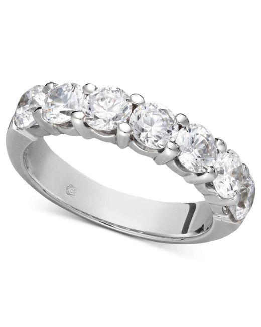 Macy's - Gray Certified Seven Diamond Station Band Ring In 14k White Gold (2 Ct. T.w.) - Lyst